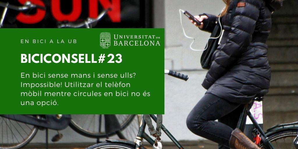 En bici sense mans i sense ulls? Impossible! Utilitzar el telèfon mòbil mentre circules en bici no és una opció.
