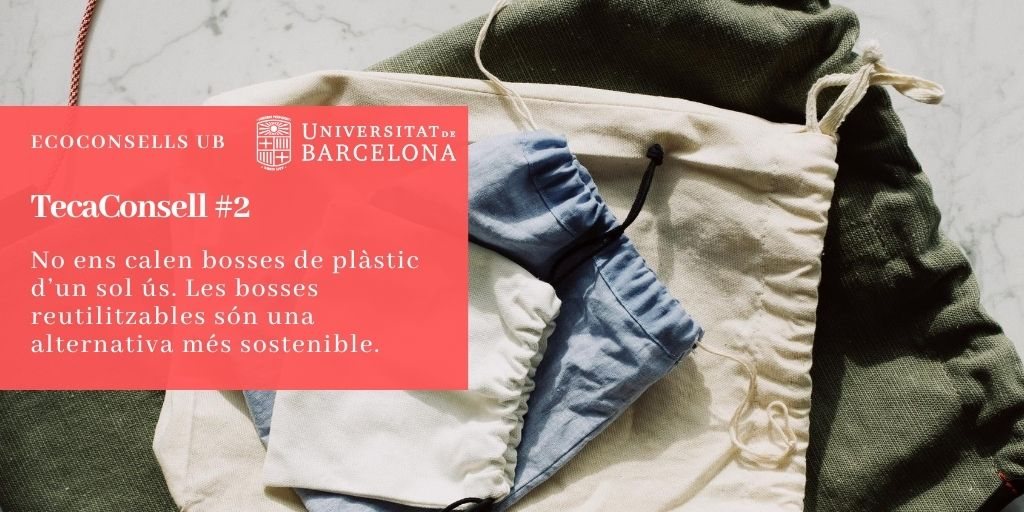 No ens calen bosses de plàstic d'un sol ús. Les bosses reutilitzables són una alternativa més sostenible