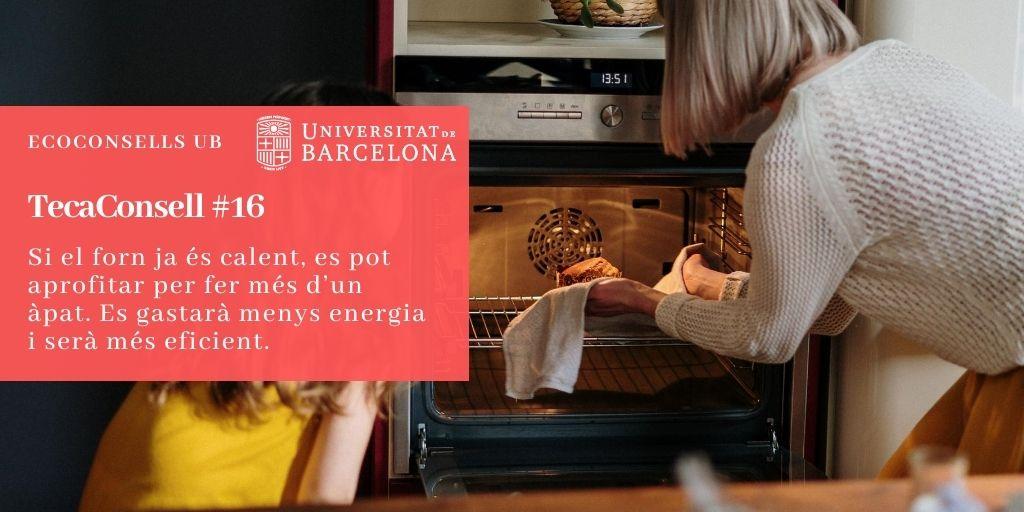 Si el forn ja és calent, es pot aprofitar per fer més d'un àpat. Es gastarà menys energia i serà més eficient