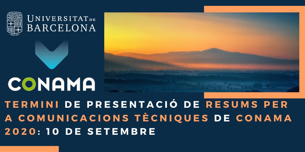Terminide presentació de resums per a comunicacions tècniques Conama 2020: 10 de september