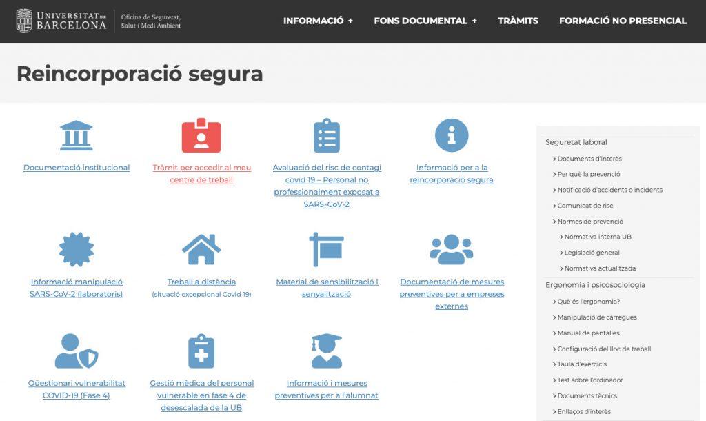 Captura de pantalla de l'apartat de reincorporació segura de la web de l'OSSMA