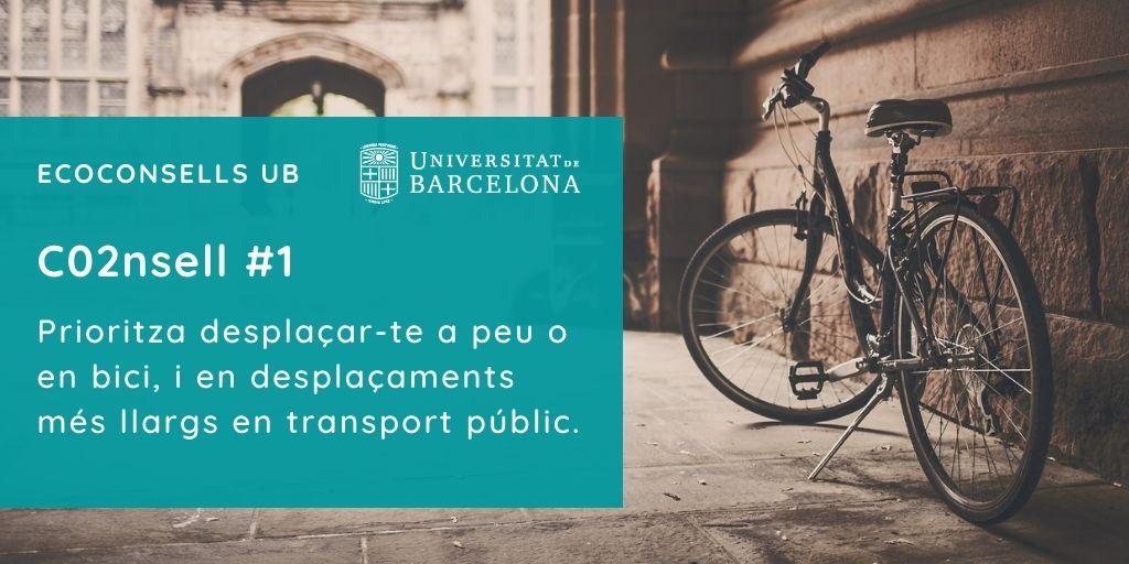 CO2nsell 1: Prioritza desplaçar-te a peu o en bici, i en desplaçaments més llargs en transport públic.