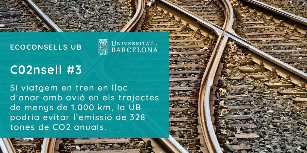 CO2nsell 3: Si viatgem en tren en lloc d'anar amb avió en els trajectes de menys de 1.000 km, la UB podria evitar l'emissió de 328 tones de CO2 anuals.