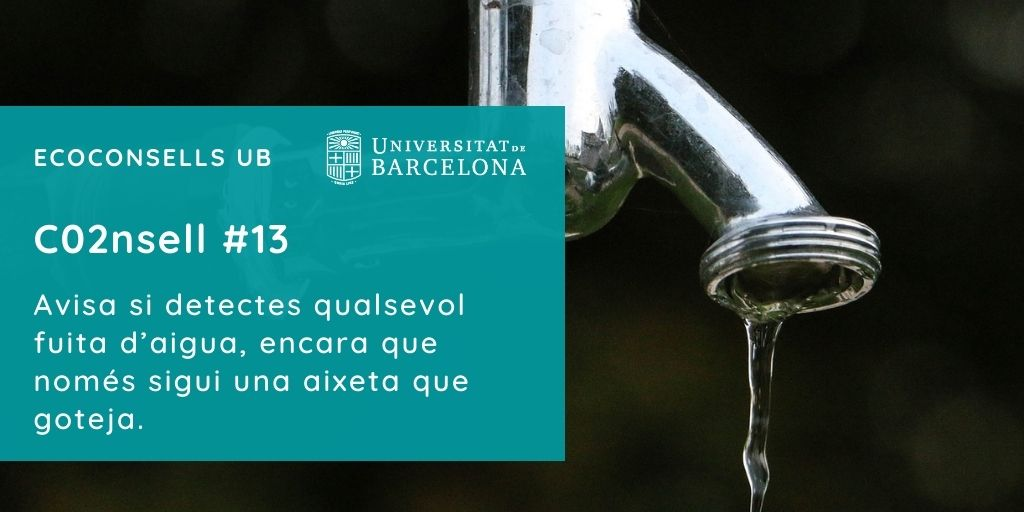 CO2nsell 13: Avisa si detectes qualsevol fuita d'aigua, encara que només sigui una aixeta que goteja.