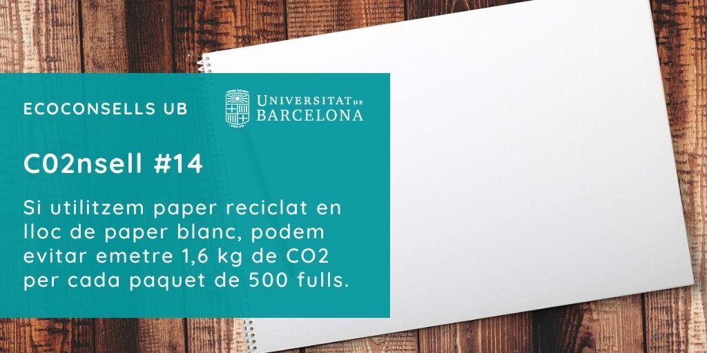 CO2nsell 14: Si utilitzem paper reciclat en lloc de paper blanc, podem evitar emetre 1,6 kg de CO2 per cada paquet de 500 fulls.