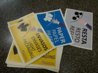 Etiquetes identificatives de les paperes de residus a la Universitat de Barcelona