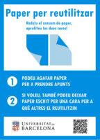 Cartell informatiu de les safates de paper per reutilitzar del CRAI Biblioteques