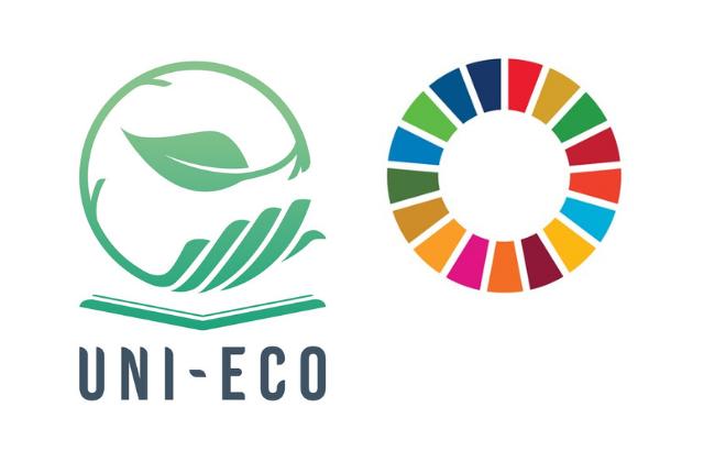Marca del projecte Erasmus+ UNI-ECO i dels objectius de desenvolupament sostenible de l'Agenda 2030 de Nacions Unides