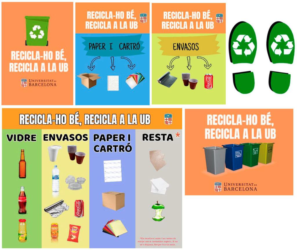 Elements de la campanya de comunicació sobre residus del grup aprenentatge servei del grau de Ciències Ambientals