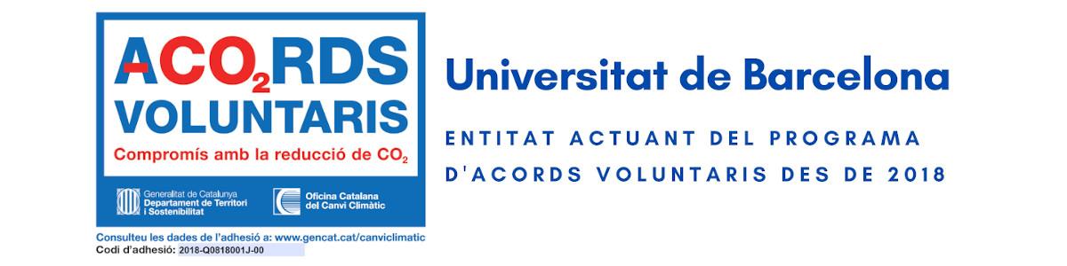 Etiqueta Programa acords voluntaris reducció CO2: UB entitat actuant