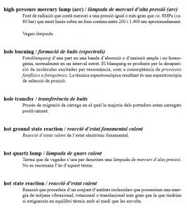 Glossari de termes fotoquímica