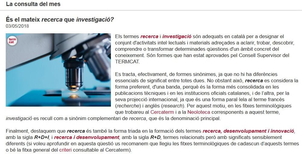 recerca i investigació