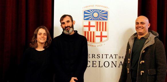 De izquierda a derecha, los estudiantes Tura Sanz, Miquel García y Luca Tronci, que han ganado las becas este año.