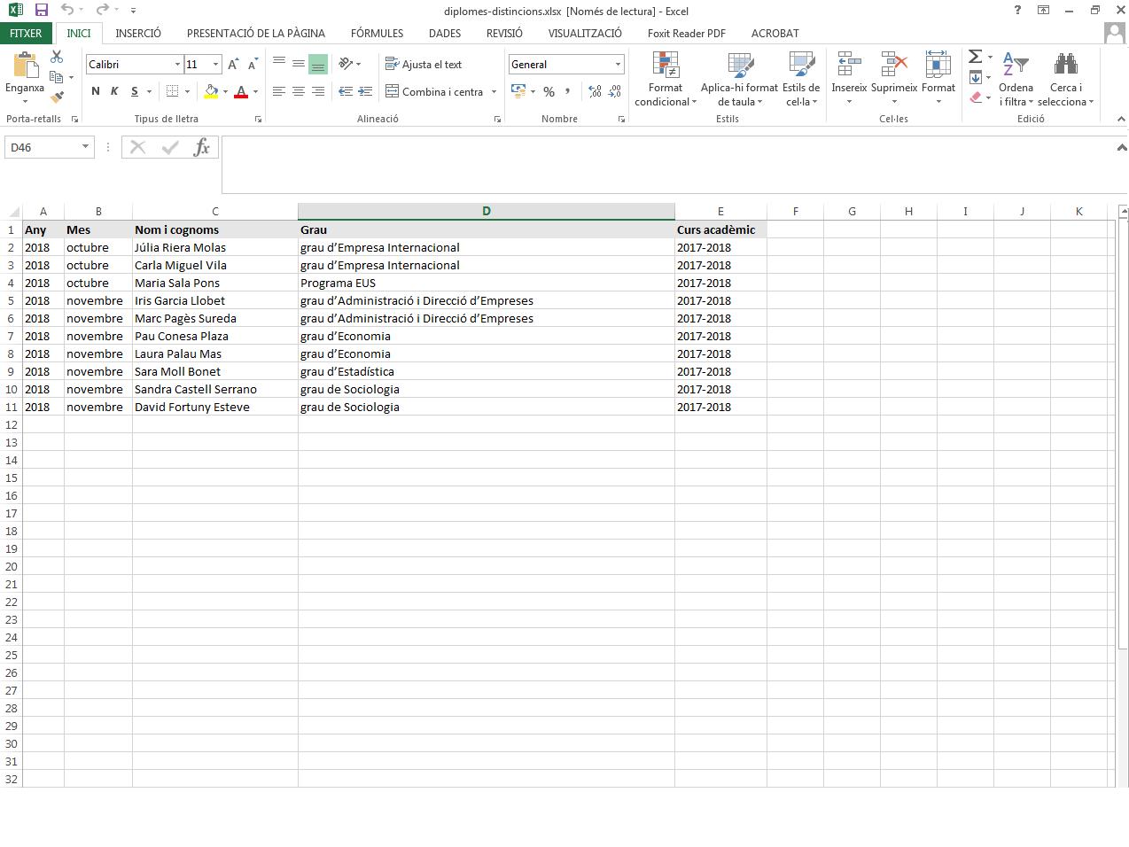 Excel amb informacions específiques, les variables del Word
