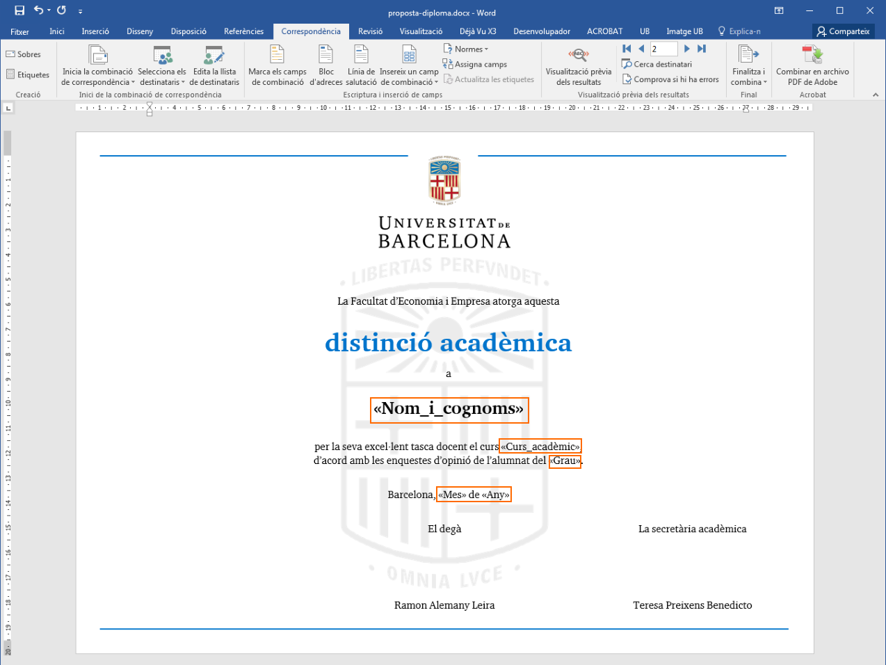 Word vinculat amb l'Excel i preparat