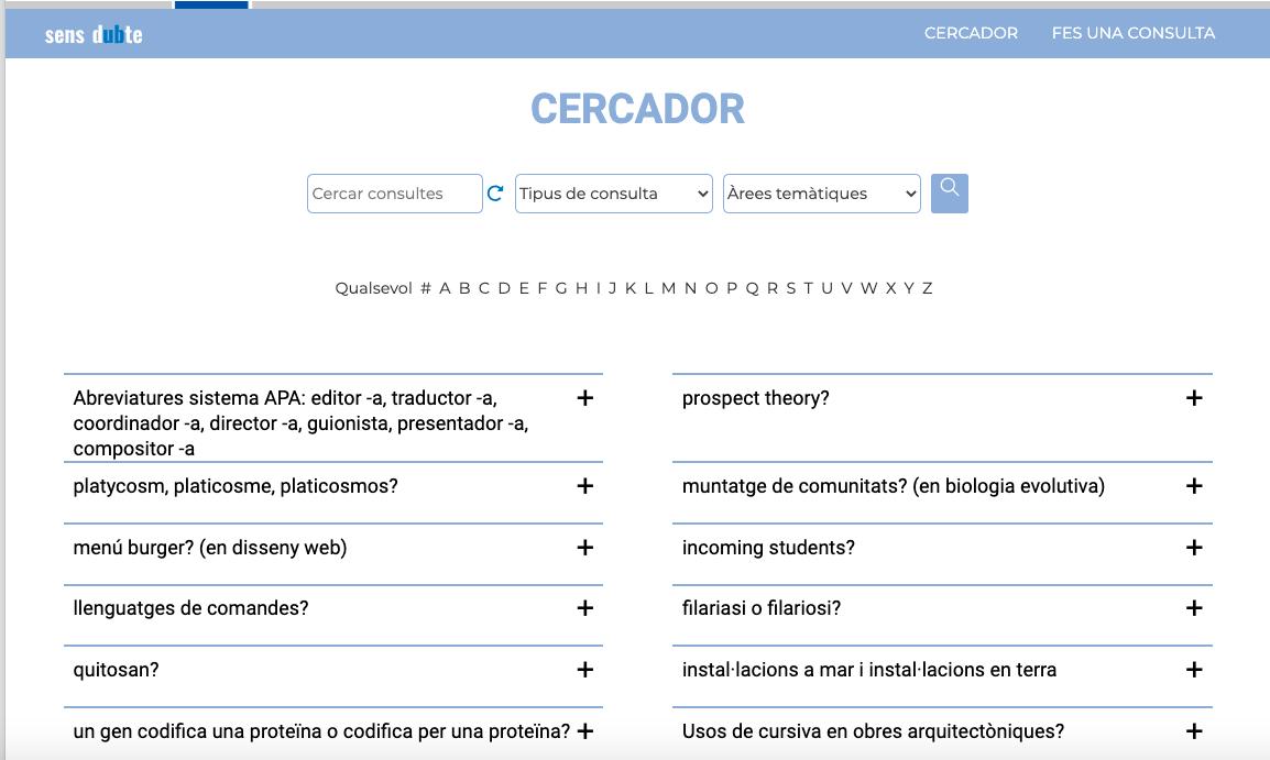 Cercador i llista de consultes