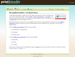Apunt dels multicercadors simplificat amb Print Friendly