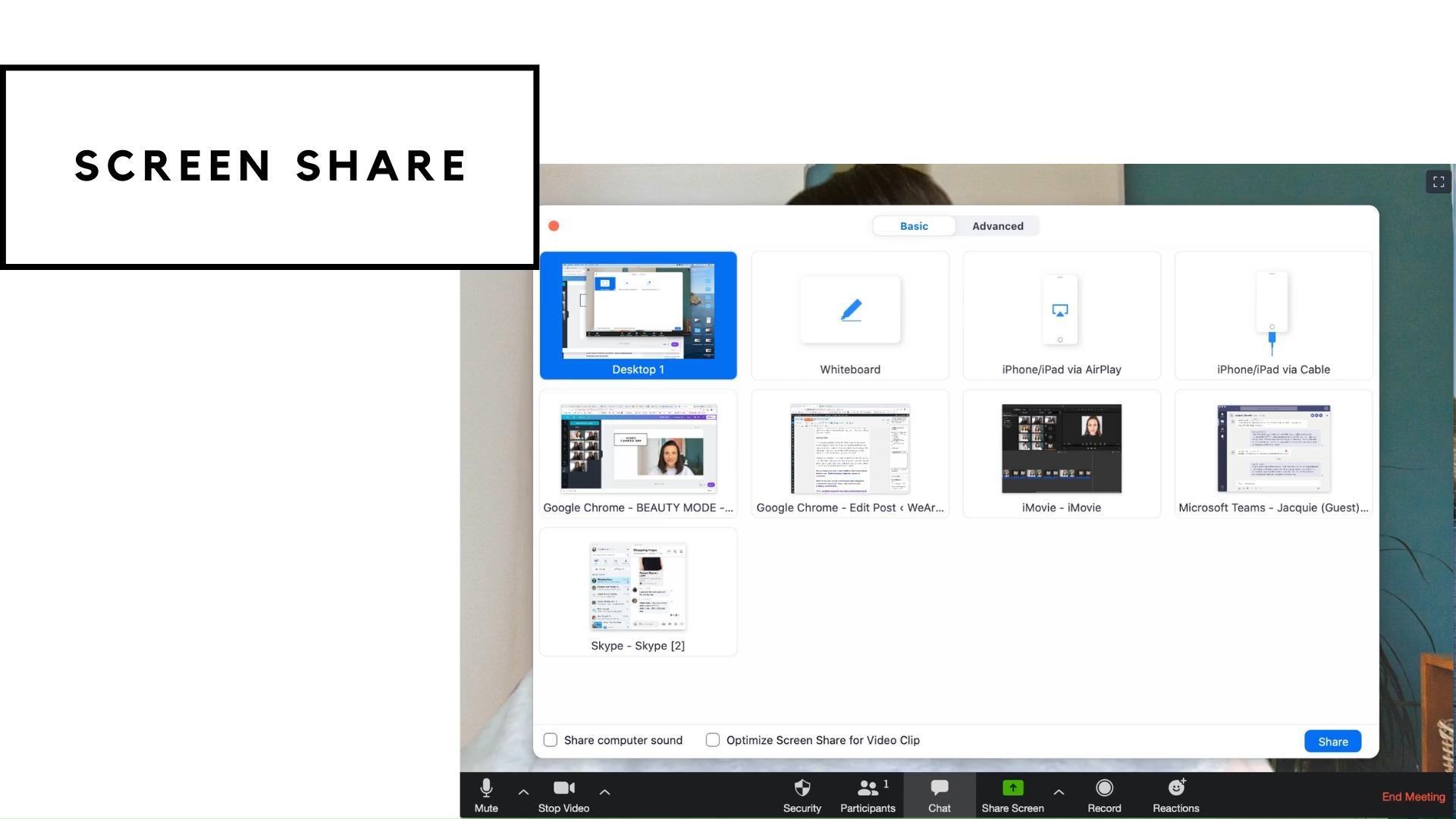Precaució en compartir pantalla