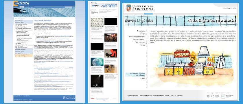 Exemple de captures de diversos recursos dels Serveis Lingüístics