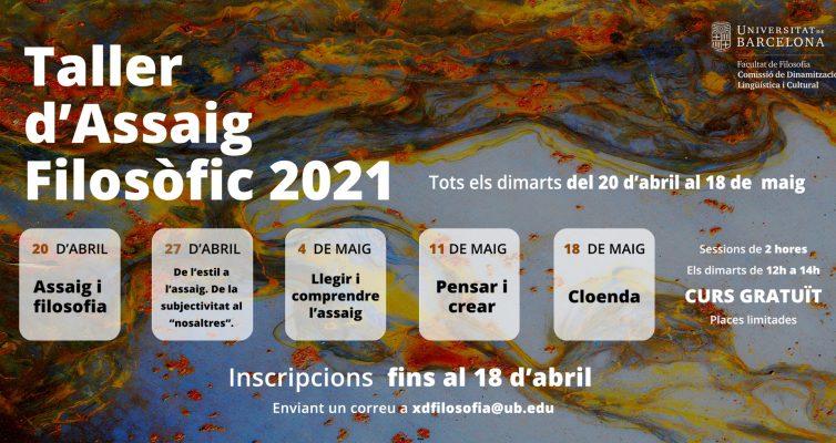 S'obren les inscripcions al Taller d'assaig filosòfic 2020-2021. Data límit: 18 d'abril
