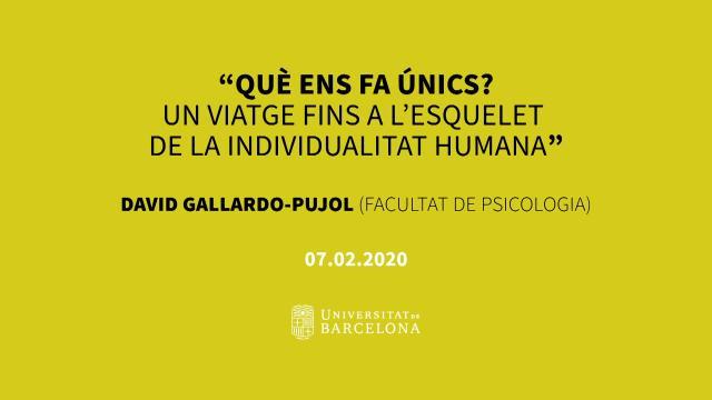 """Diàlegs a la Ramón y Cajal - Sessió 3: """"Què ens fa únics? Un viatge fins a l'esquelet de la ...<br/>individualitat humana' - David Gallardo-Pujol"""