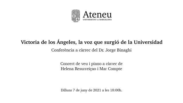Victoria de los Ángeles, la voz que surgió de la Universidad - Ateneu UB