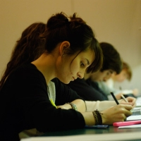 Photograph of students in the library