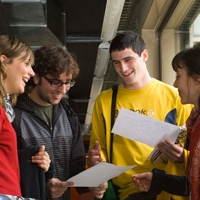 Photograph of students chatting