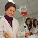 Photograph of students doing a clinical practical