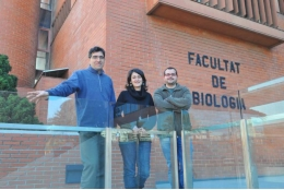 Emili Saló, M. Dolores Molina and Francesc Cebrià at the at the UB's Faculty of Biology