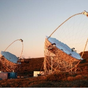 The Magic telescopes of the Observatorio del Roque de los Muchachos, on the island of La Palma. Photo: Magic Consortium