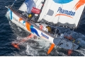 The boat <i>One Planet One Ocean & Pharmaton</i>, tied to the UB, qualified in fourth position. Photo: BWR 2014-2015- The Barcelona World Race ends with successful participation in its educational programme