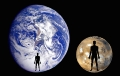 The expected planet and body sizes associated with an ordinary sentient species (right), relative to those of an ordinary sentient individual (left). - Are Earth-like planets our best bet for finding extra-terrestrial life?
