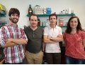 From left to right, the researchers Marc López, Francisco Ciruela, Josep Maria de Anta and Concepció Soler. - Researchers identify a key molecule in psoriasis development