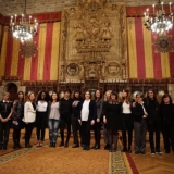 Groupal picture of this year's winners in the competition that promotes cultural initiatives led by women. Photo: Barcelona City Council