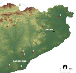 Main archaeological sites and necropolis in Catalonia with dog burials.