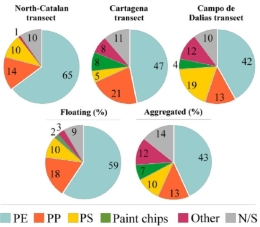 The diversity of microplastics in the sea, as well as differences in concentration, show different origins and volume depending on the analysed area of the coast.