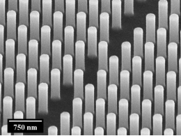 Scanning electron microscopy image showing an array of silicon pillars such as those that will create the nanosystem of the StretchBio project