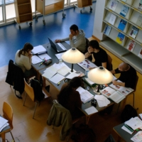 Students studying at the UB Library